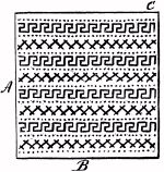 DIAGRAM OF PATTERN TO BE WORKED ON PERFORATED PAPER FOR A CATCH-ALL.