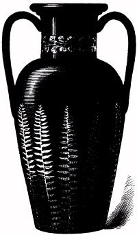 VASE, PAINTED BLACK AND ORNAMENTED WITH FERNS (AUTUMN-LEAF WORK).